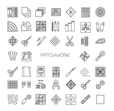 Patchwork řádek ikony set. Quilting spotřebního materiálu a příslušenství. Quilt kit tkanina, náplasti, jehly, nitě, nůžky, plátěný, šicí stroj, pin, šablona, pravítko, rotační sekačka. Vektorové ilustrace.