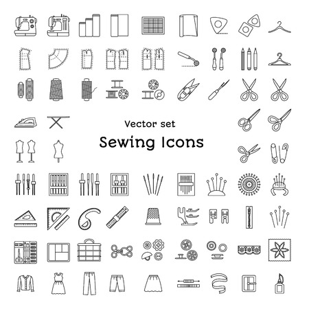 Sewing line icons set isolated on white background. Tailoring supplies and accessories. Fabric, needle, thread, scissors, sewing machine, pin, ruler, organizer, iron, zipper, spool, kit, pattern, tailor's dummy. Vector illustration. Vettoriali