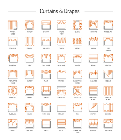 Different window drapes, valances, curtains, blinds. Lambrequins and shades. Home decor elements. Line icon set. Vector illustration.