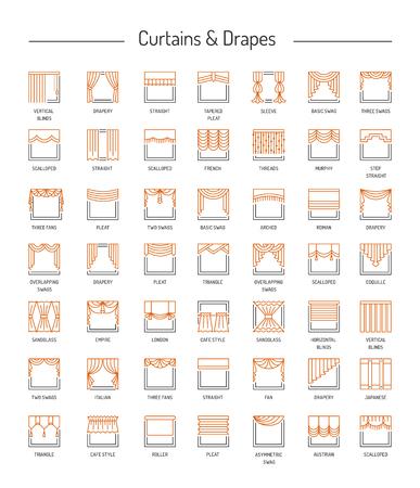 Diferentes cortinas de ventana, cenefas, cortinas, persianas. Lambrequins y sombras. Elementos de la decoración casera. Conjunto de iconos de línea. Ilustración del vector.