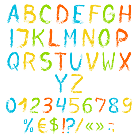 Colorful painted english alphabet with numbers and symbols. Vector set. Isolated on white background