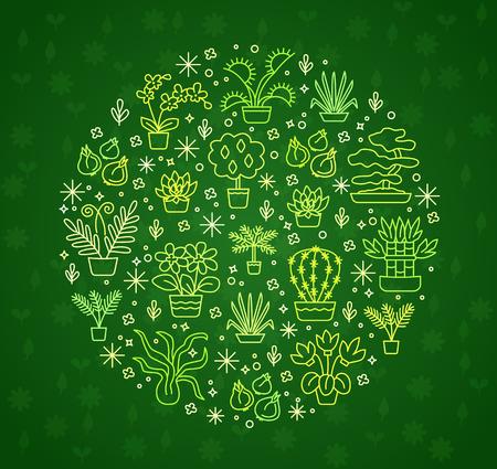 Concept de plantes d'intérieur pour jardinerie, fleuriste et fleuriste. Vecteur vert rond illustration de symboles & signes dans le style de ligne. Peut être utilisé pour la bannière, flyer, mise en page, affiche, publicité web. Banque d'images - 76536501