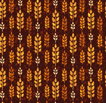 Seamless vintage pattern with wheat. Brown agricultural background about harvest and grain. Summer bright wallpaper. Stock Illustratie
