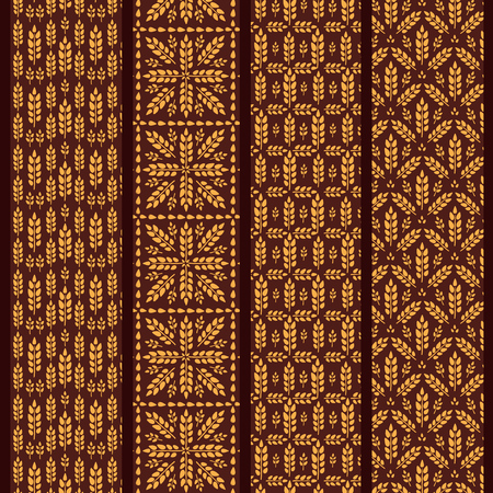 Set of seamless pattern with wheat. Brown agricultural background about harvest and grain. Collection of summer bright wallpapers.