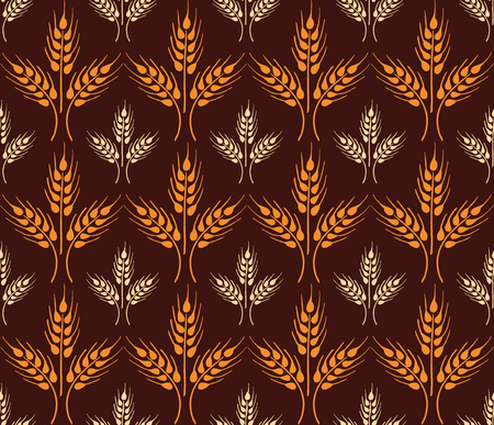 Seamless vintage pattern with wheat. Brown agricultural background about harvest and grain. Summer bright wallpaper. Illustration
