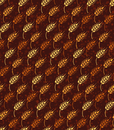 Seamless vintage pattern with yellow and orange wheat. Brown agricultural wallpaper about harvest and grain on the background with paint splashes.