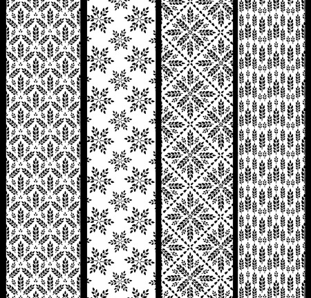 Set of seamless patterns with wheat. Black and white agricultural background about harvest and grain. Collection of summer wallpapers.