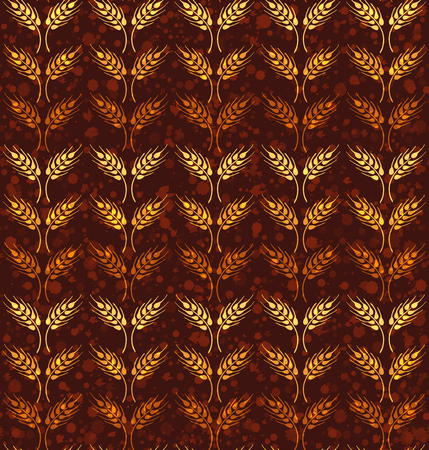 Seamless vintage pattern with rows of yellow and orange wheat. Brown agricultural wallpaper about harvest and grain against background with paint splashes Illustration