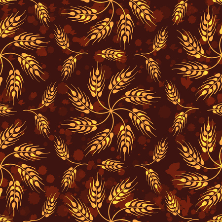 Seamless vintage pattern with mosaic from wheat flowers and wheat ears. Brown agricultural wallpaper about harvest and grain against background with paint drops