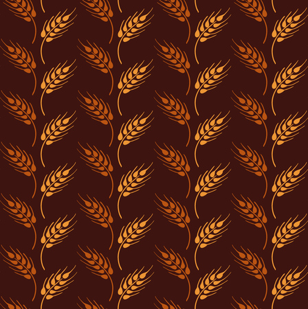 Seamless vintage pattern with wheat. Brown agricultural background about harvest and grain. Summer bright wallpaper. Ilustração