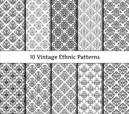 Set of ethnic vintage patterns. Collection of classical old fashioned asian wallpapers with floral and scroll elements. Elegant design  in black and white colors. Background textures for wrapping paper, textile print, invitations. All patterns added as sw