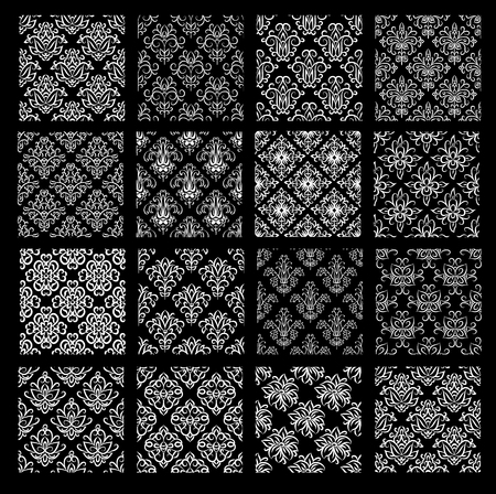 Set of ethnic damask vector patterns in black and white colors. All patterns added as swatches. Collection of classic asian wallpapers  with floral and swirl elements. Illustration
