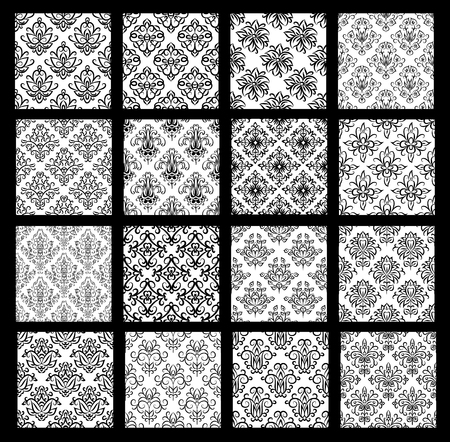 Collection of traditional oriental patterns with floral elements in black and white colors. Background textures for wrapping paper, textile print, invitations, home decor. All patterns added as swatches. Illustration