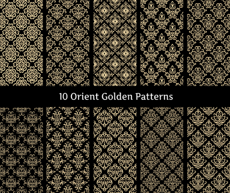 Collection of orient golden vector patterns on black background.