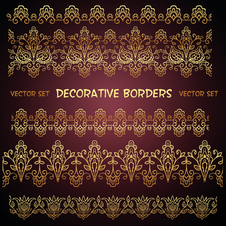 Golden decorative floral lace ethnic borders. Can be used for backgrounds, packaging, invitations,vintage cards.
