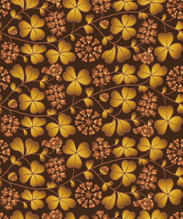 Autumn seamless natural pattern with flowers and leaves. Brown background with clover Illustration
