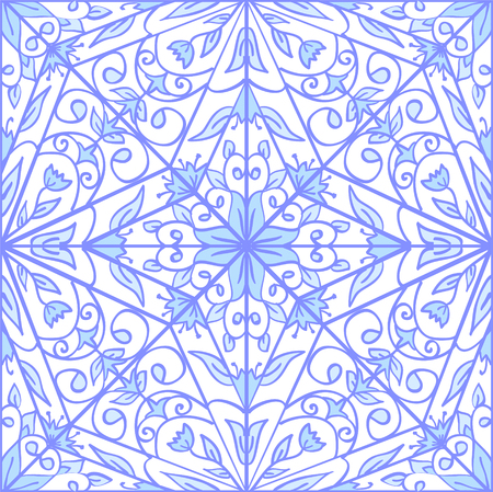 Seamless blue geometric floral pattern. Can be used for wallpaper, pattern fills, web page background,surface textures.