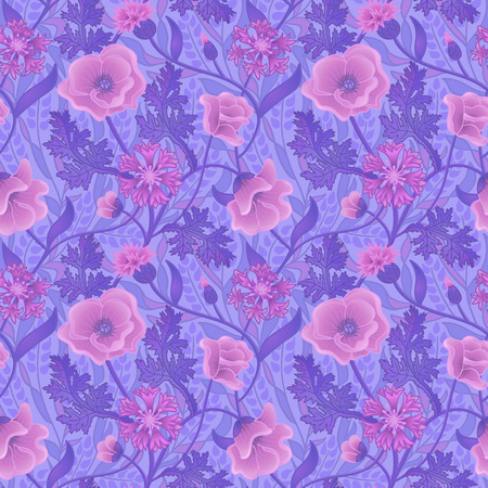 Natural wallpaper with pink flowers and purple leaves. Seamless summer pattern Illustration