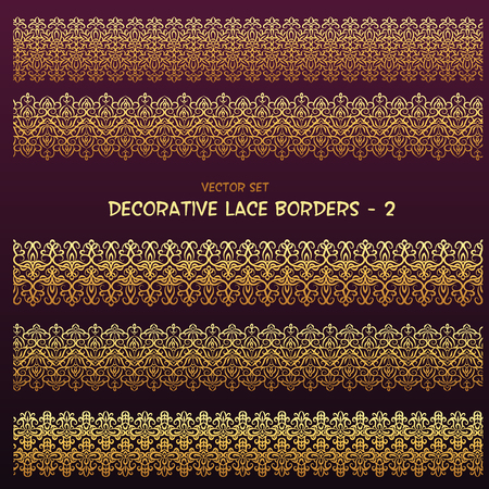 Golden decorative floral lace ethnic borders. Can be used for backgrounds, packaging, invitations,vintage cards, wrapping paper. Vintage design seamless elements
