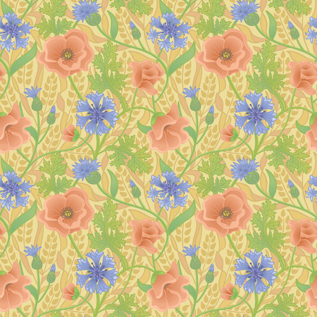 Summer natural wallpaper with red poppy, blue cornflower and yellow wheat. Field of wheat with flowers. Seamless pattern. Illustration