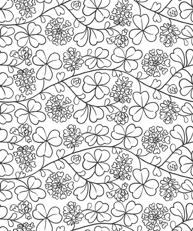 Summer seamless natural pattern with flowers and leaves. Black and white background with clover Illustration