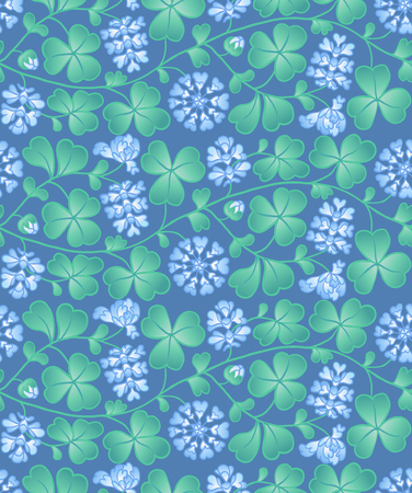 Summer seamless natural background with flowers and leaves. Blue clover pattern