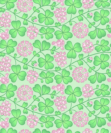 Summer seamless natural pattern with flowers and leaves. Background with pink clover