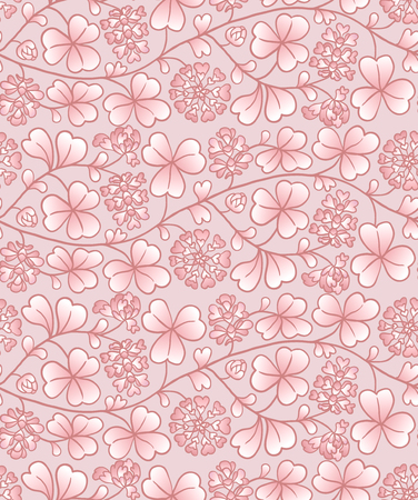 Summer seamless natural pattern with flowers and leaves. Pink pastel background with clover Illustration