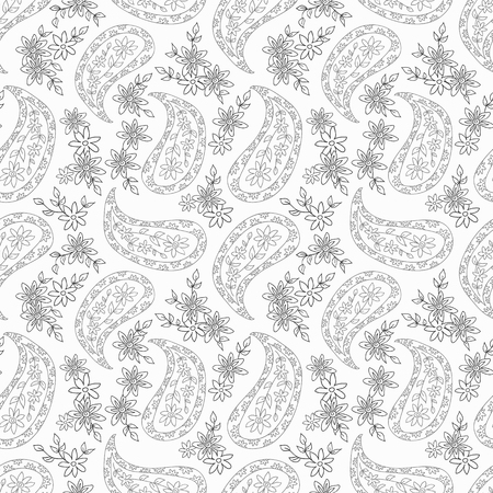 Paisley black and white floral pattern. Seamless pattern can be used for wallpaper, fabrics, paper craft projects, web page background,surface textures. Illustration