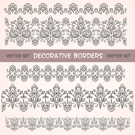 Decorative floral lace ethnic borders. Can be used for backgrounds, packaging, invitations,vintage cards.