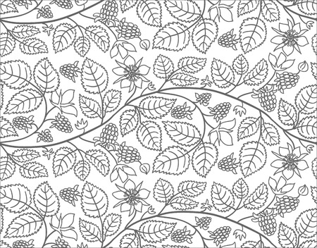 Seamless summer pattern with raspberry and leaves. Black and white background with raspberry