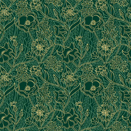 Seamless natural pattern with yellow flowers and leaves on green background. Outline summer wallpaper.