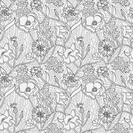 Seamless black and white natural pattern with flowers and wheat. Outline wallpaper.