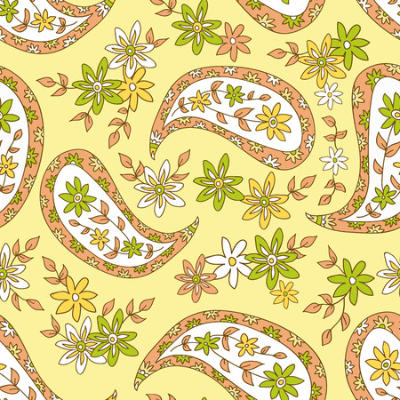 Paisley yellow summer floral pattern. Seamless pattern can be used for wallpaper, fabrics, paper craft projects, web page background,surface textures.