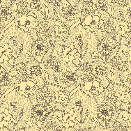 Seamless yellow natural pattern with flowers and wheat. Outline summer wallpaper. Illustration