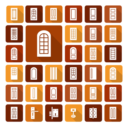 Doorway and hardware. Set of different isolated doors and furniture. Entrance and french glass door. Line icon collection. Architecture elements