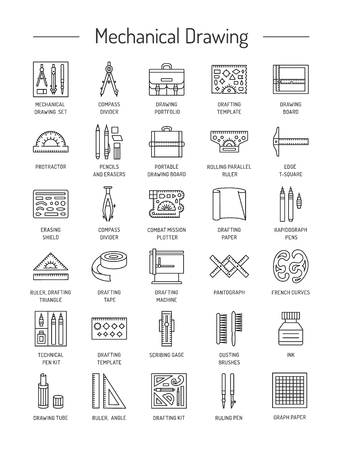 Drafting tools icon collection. Technical drawing. Line icons set. Drafting kit, ruler, drawing board, protractor, tape, mechanical pencil, ink, divider, compass. Mechanical drawing instruments. Vector illustration. Illustration