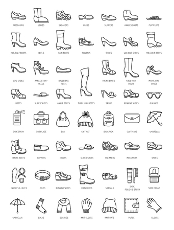 Mens and womens shoes & accessories. Vector line icon set. Various styles of footwear. Heels, boots, sneakes, sandals, flats.  Bags, gloves, sunglasses, umbrellas, hats, scarves, socks. Shoe care products: polish, cream, brush.