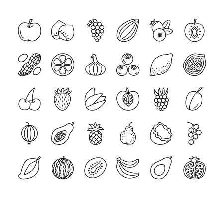 Vector line icon set. Fruits, berries and nuts. Healthy vegetarian food. Apple, cherry, orange, lemon, walnut, hazelnut, avocado, pineapple, strawberry, raspberry, blueberry. Isolated on white background. Illustration