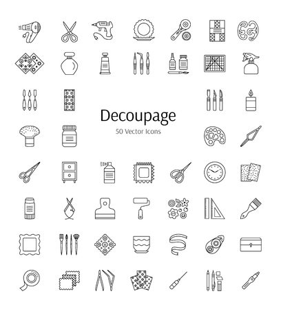 Decoupage tools and accessories. Vector line icons.  Decorating boxes, furniture and frames with paper napkins and glue. Paper craft elements. Handmade hobby