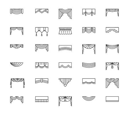 Vector línea de iconos con valances y pelmets. Tratamientos para ventanas. Diferentes estilos de cortinas y persianas. Swag, ventilador, recto, festoneado, pliegue. Elementos para decoración de interiores.