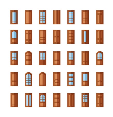 Set of different doors isolated on white background. Flat icon collection. Entrance glass doorway. Wooden door. Architecture elements