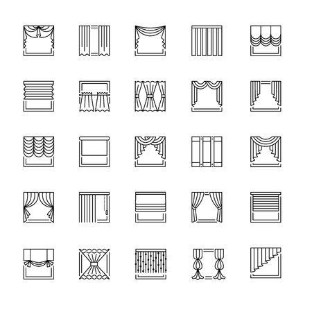 Vector line icons with drapes. Window covering. Different styles of draperies, curtains and blinds. Roman, french, roller, pleat, japanese, threads. Elements for interior decoration.