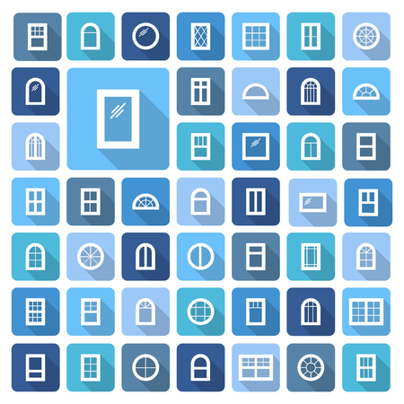 Windows. Architecture elements. Flat colored icons with long shadows. Traditional, french, arch and round window frames Illustration