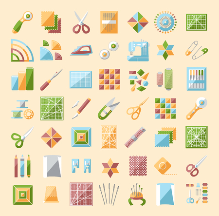 Patchwork  line icons set. Quilting supplies and accessories. Quilt fabric kit, patch, needle, thread, scissors, cloth, sewing machine, pin, template, ruler, rotary cutter. Vector illustration. Illustration