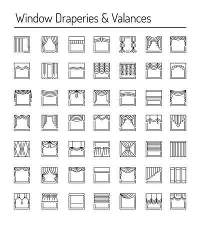 Window draperies, valances, curtains, blinds. Interior design elements. Black line icon set.