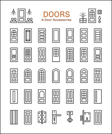 Doorway and hardware. Set of different types of doors and furniture. Entrance and french glass door. Line icon collection. Architecture elements