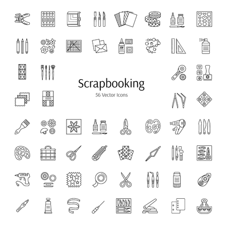 Scrapbooking tools and accessories. Vector line icons.  Decorating albums, books and cards with scrap, lace and ribbon. Paper craft elements. Handmade hobby