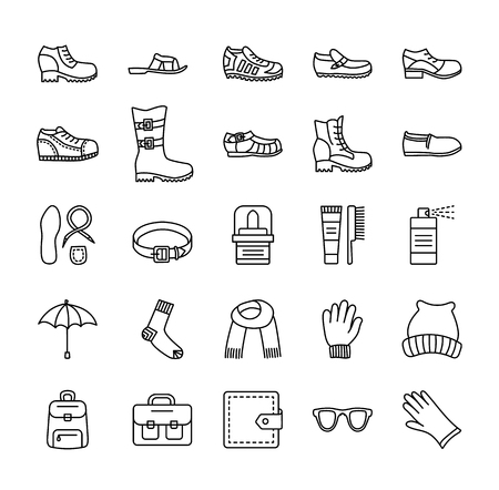 Mens shoes & accessories. Vector line icon set. Various styles of footwear. Boots, sneakers, sandals, slippers. Bag, glove, sunglasses, umbrella, hat, scarf, sock. Shoe care products: polish, cream, brush. Illustration
