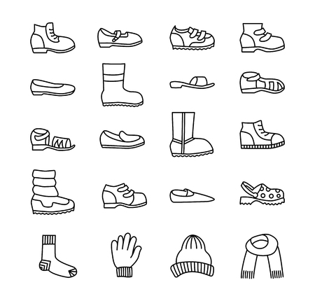 Childrens shoes & accessories. Vector line icon set. Various styles of kids footwear. Boots, sneakes, sandals, flats, running shoes for boys and girls.